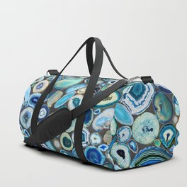 Blue Agates on Charcoal Duffle Bag