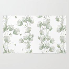 Vintage green white elegant floral illustration Rug
