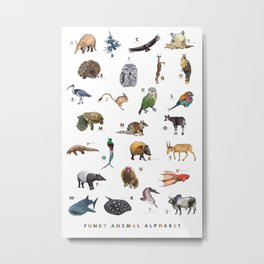 Funky Animal Alphabet Metal Print
