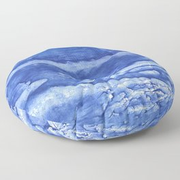 Steel blue vague watercolor painting Floor Pillow