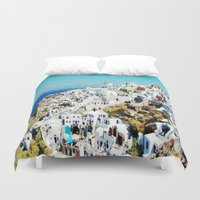greece Duvet Covers featuring Santorini, Greece  by Abby Gracey