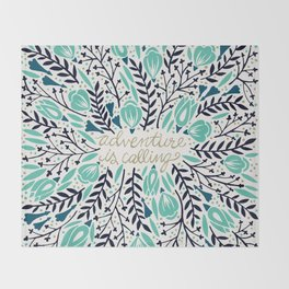 Adventure is Calling – Navy & Mint Palette Throw Blanket