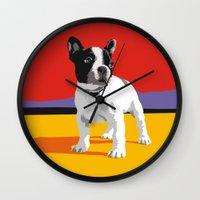 boston terrier Wall Clocks featuring Boston terrier by Matt Mawson