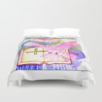 bible verse Duvet Covers featuring THE HOLY BIBLE by KEVIN CURTIS BARR'S ART OF FAMOUS FACES