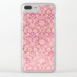 Vintage Antique Pink-Rose Wallpaper Pattern Clear iPhone Case