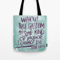 camus Tote Bags featuring OH NO CAMUS AGAIN by Josh LaFayette