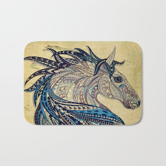 Grunge Ethnic Horse Bath Mat