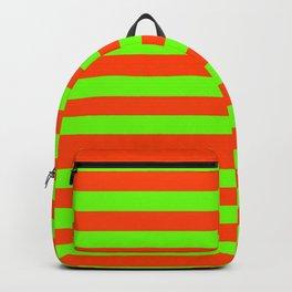 Super Bright Neon Orange and Green Horizontal Beach Hut Stripes Backpack