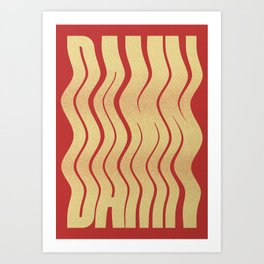 Damn Typographic Poster and Type Print in Red and warm White Colourway Art Print
