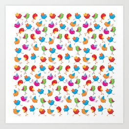 Colorful birds. Art Print