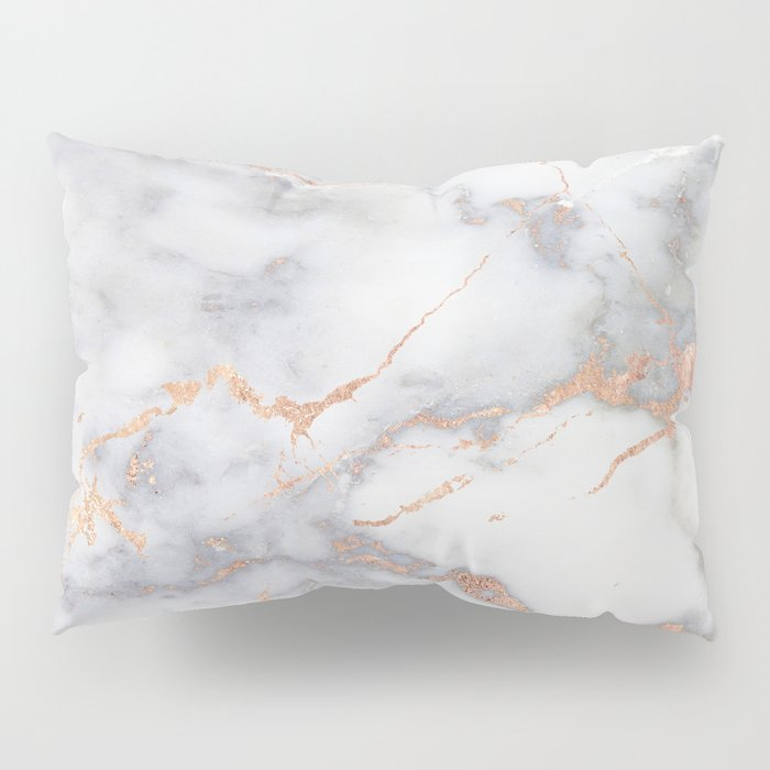 Gray Marble Rosegold  Glitter Pink Metallic Foil Style Pillow Sham