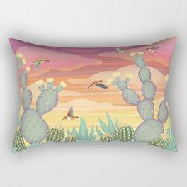 rufous hummingbirds & cactus Rectangular Pillow