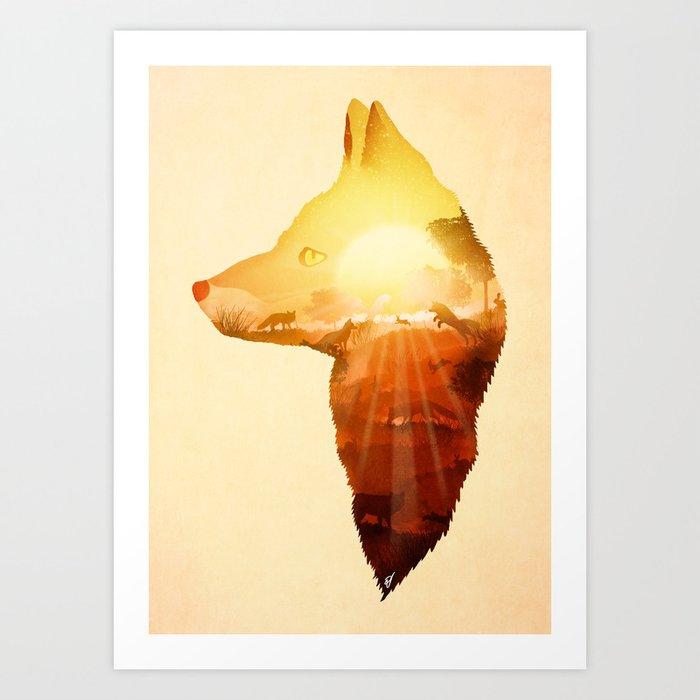 Playing at Sunset Art Print