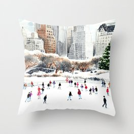 Central Park Ice Skating Art Watercolor Winter Wollman Rink NYC Skyline Throw Pillow