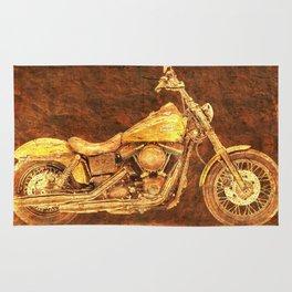 Harley Dyna Street Bob 2017 Golden art on brown stone Rug