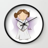 leia Wall Clocks featuring Leia by Lalu - Laura Vargas