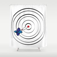 chicago bulls Shower Curtains featuring Bulls Eye by Nivedhna