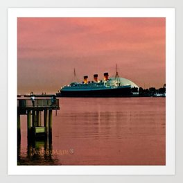 The Queen Mary at Dusk Art Print