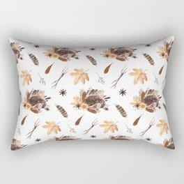 Cute brown pink orange yellow watercolor hedgehogs fall leaves Rectangular Pillow