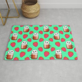 Cute little happy funny white little baby kittens sitting in cappuccino coffee cups, yummy red ripe sweet summer strawberries light pastel green fruity pattern design. Rug