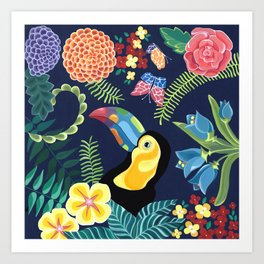 Natures Confetti Toucan Art Print