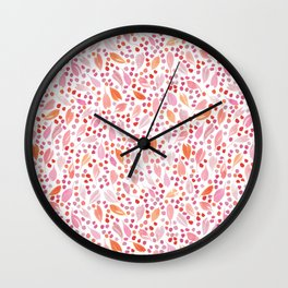 Leaves and Dots | Red, Orange and Pink Wall Clock