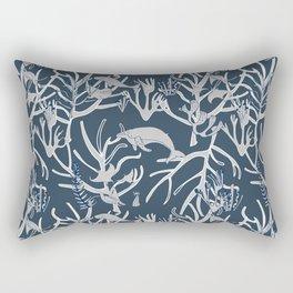 Nautical Toile de Jouy Navy Grey Rectangular Pillow