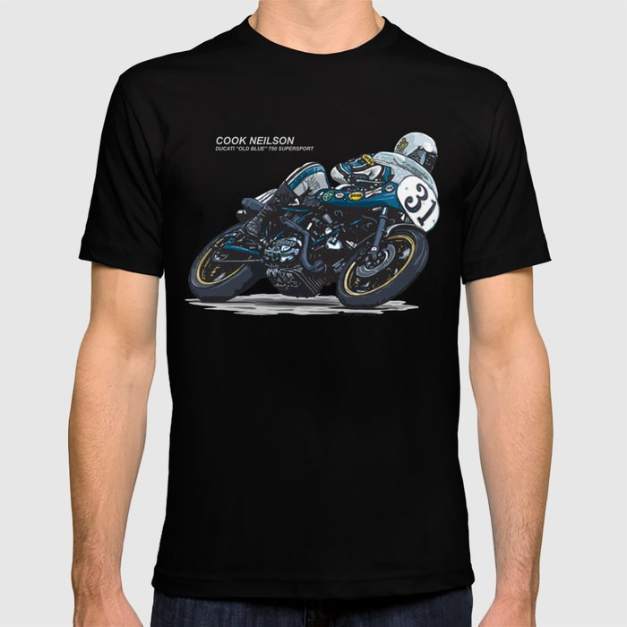"Cook Neilson & Ducati ""Old Blue"" 750 Supersport Vintage Motorcycle Artwork T-shirt"