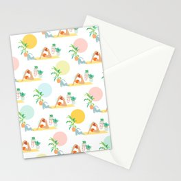 Summer Yoga Pose with Cat and Plants Stationery Cards