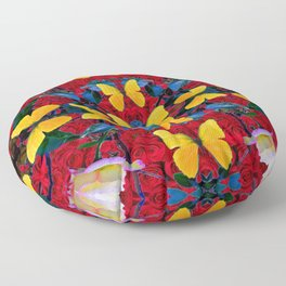 RED-WHITE ROSES & YELLOW BUTTERFLIES GARDEN Floor Pillow