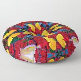 RED-WHITE ROSES & YELLOW BUTTERFLIES GARDEN Floor Pillow