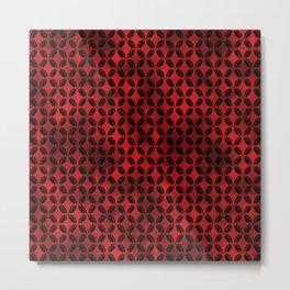 4 Leaf Quatrefoils in Black and Ruby Red Vintage Faux Foil Art Deco Vintage Foil Pattern Metal Print