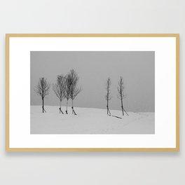 Tree line and snow Framed Art Print