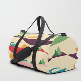 50s Retro Road Trip Beige #midcenturymodern Duffle Bag