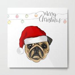 Santa pug Metal Print