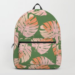 Tropical Green and Coral Leaves Backpack