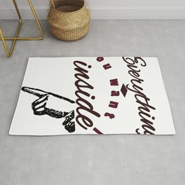 Everything you Want is Inside Pointing at Crotch Groin Genitals Naughty Sexy Design Rug