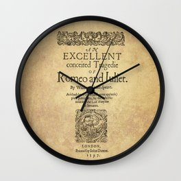 Shakespeare, Romeo and Juliet 1597 Wall Clock