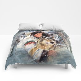 Mountain Woman With Wolfs Comforters
