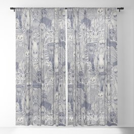 cryptid crowd blue off white Sheer Curtain