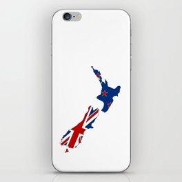 New Zealand Map with Kiwi Flag iPhone Skin