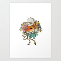 kitsune Art Prints featuring Kitsune by Total-Cult
