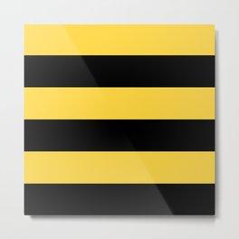 Even Horizontal Stripes, Yellow and Black, XL Metal Print