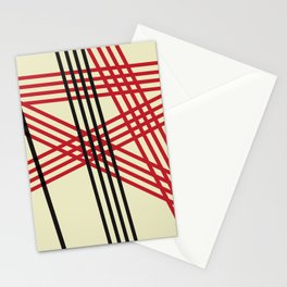 Red Black Lines Stationery Cards