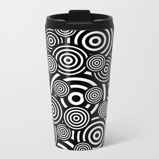 BLACK AND WHITE BULLSEYE ABSTRACT Metal Travel Mug