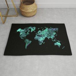 world map 77 blue Rug