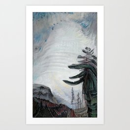Emily Carr - Fir Tree and Sky - Canada, Canadian Oil Painting - Group of Seven Art Print