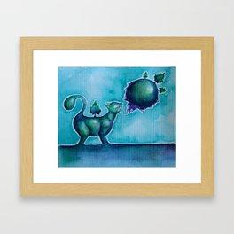 Tiny Cat Smelling a Tiny Planet Framed Art Print