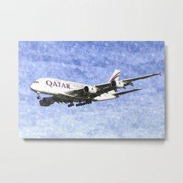 Qatar Airlines Airbus A380 Art Metal Print