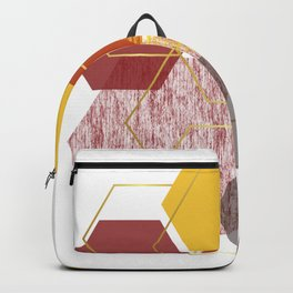 Red orange yellow and gold hexagons Backpack